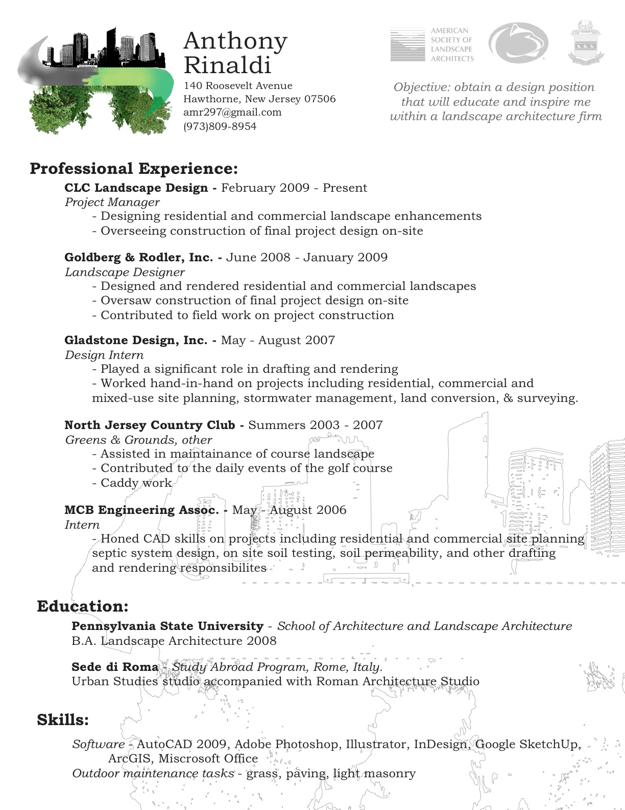guide and practice landscaping resume